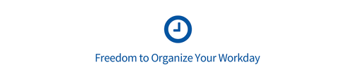 "Eine Uhr mit dem Text ""freedom to organize your workday"""